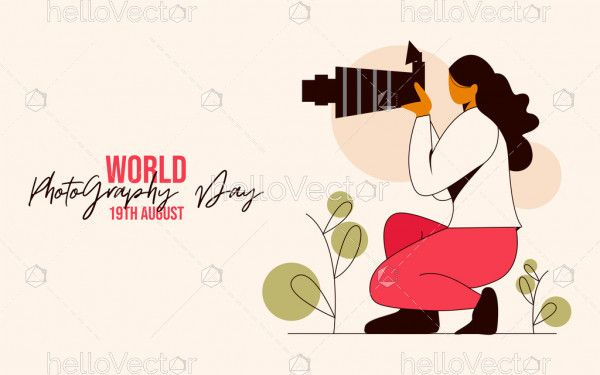 Photographer taking pictures, World Photography Day design