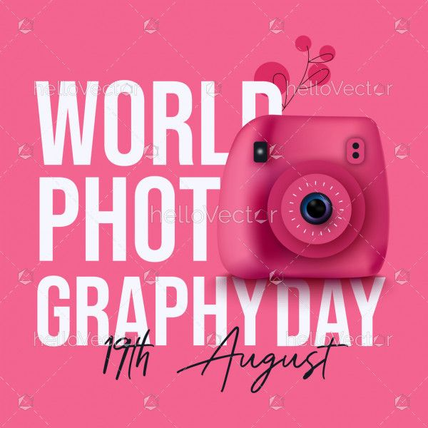 Typography Design of World Photography Day With Instax Camera
