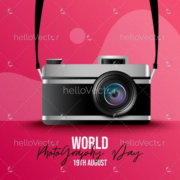 Camera Illustration, World Photography Day Concept