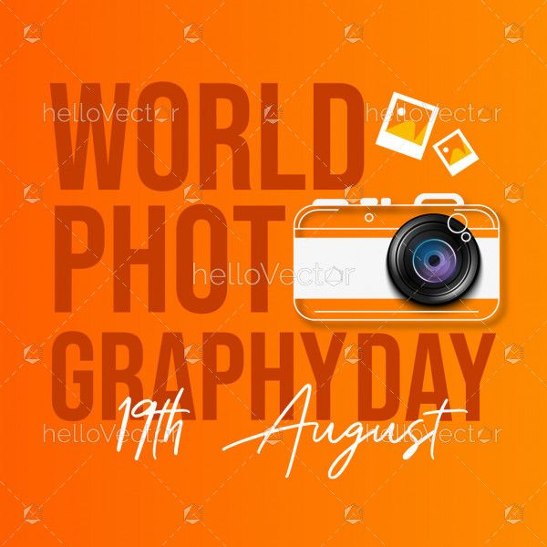 Typography Design of World Photography Day With Camera