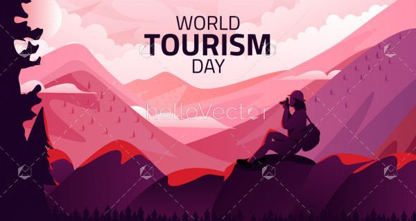 World tourism day background with mountain
