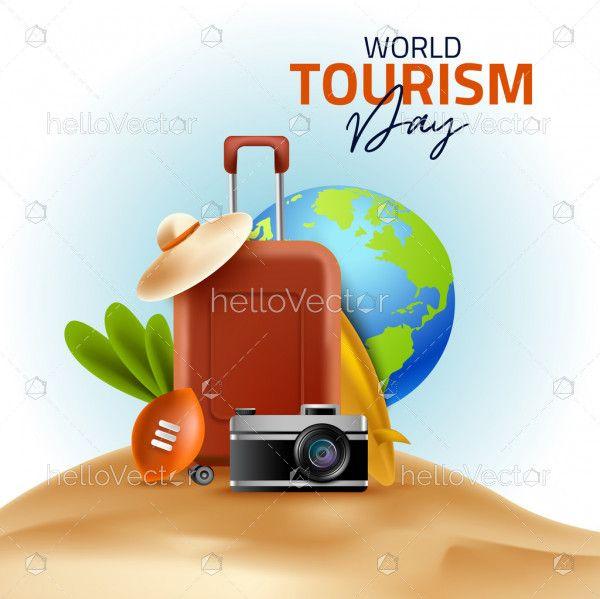 3d illustration of world tourism day