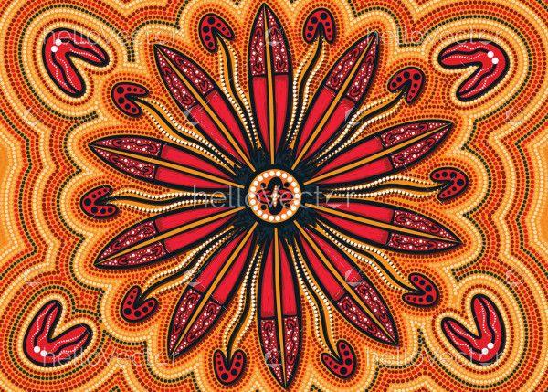 Aboriginal artwork with decorative leaves