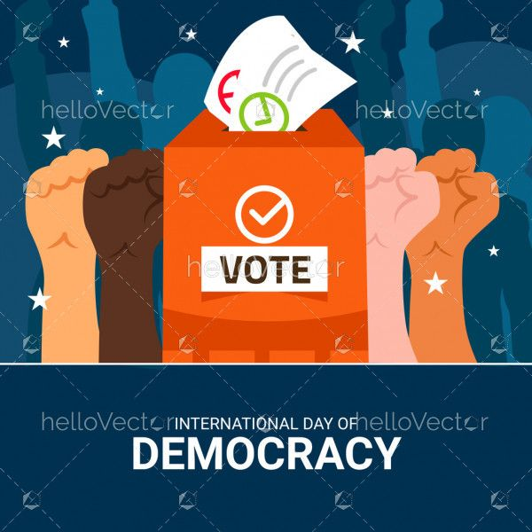 People hands with vote box, Democracy day concept