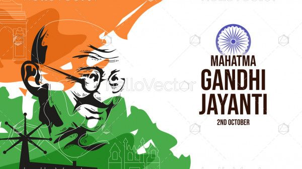 Happy Gandhi Jayanti Abstract Illustration
