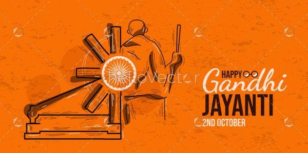 Happy Gandhi Jayanti Creative Illustration