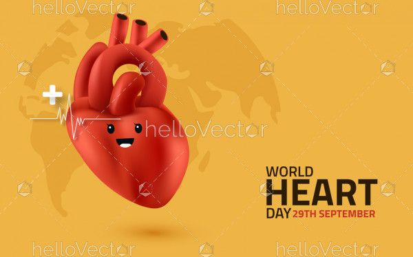 World Heart Day Illustration With 3D Heart Character