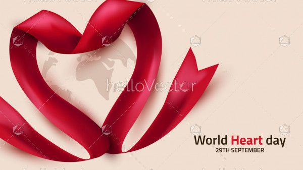World Heart Day Background With Ribbon Heart