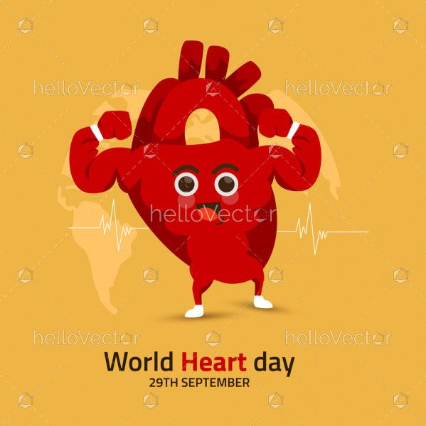 World Heart Day Banner With Funny Heart Character