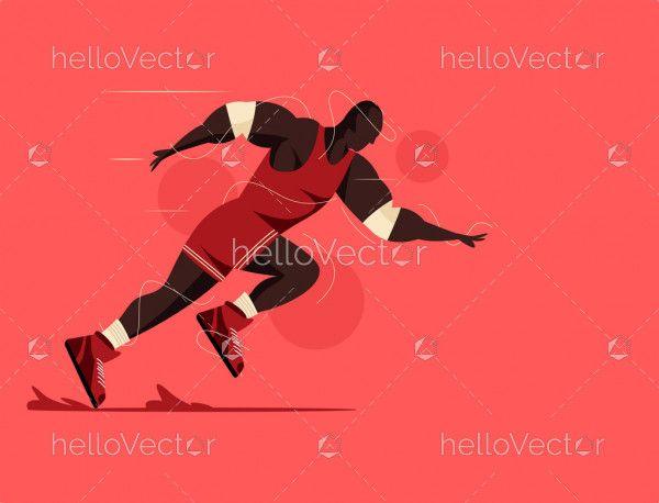Athletic Runner Cartoon Illustration