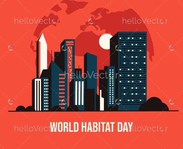 World Habitat Day Flat Illustration