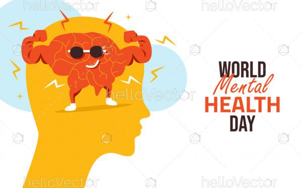 World Mental Health Day Concept Flat Illustration