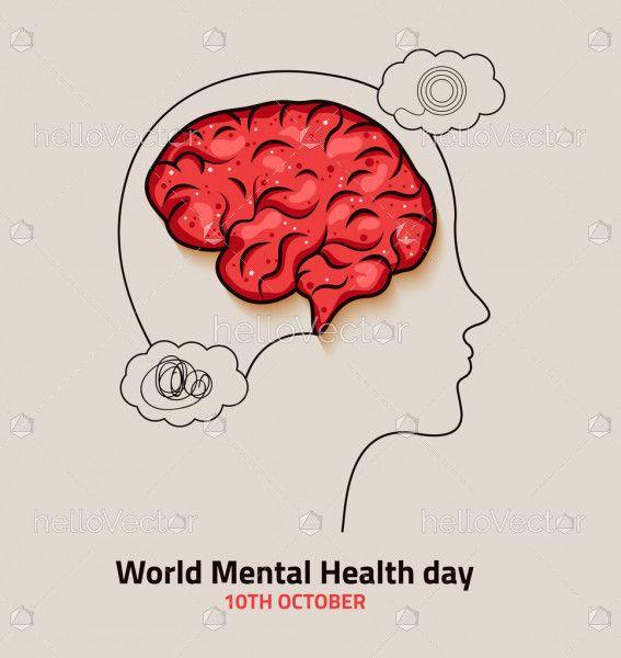 World Mental Health Day Minimal Style Illustration