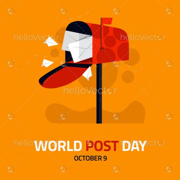 World Post Day Design With Postbox