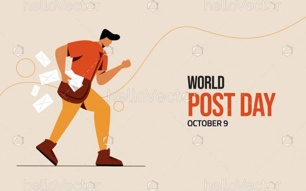 Postman with letters, world post day illustration