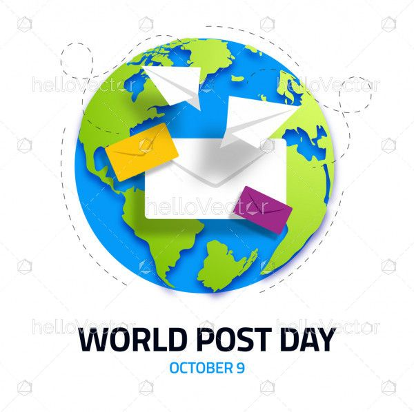 Envelope with colorful earth design concept for world post day