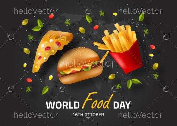 Fast Food Illustration, world food day concept