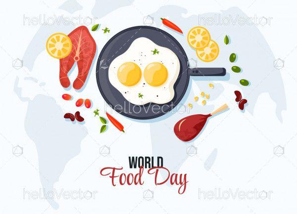 Food flat design background, World food day concept
