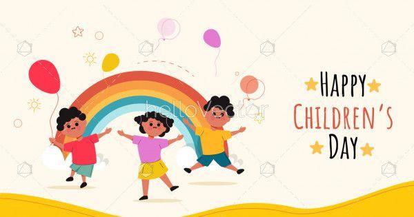 Kids party illustration, happy children's day design