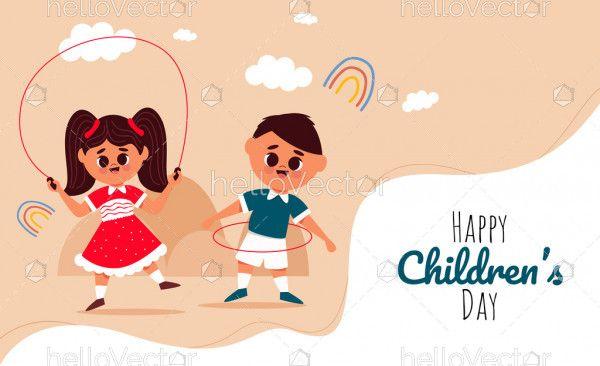 Playing kids cartoon, happy children's day banner