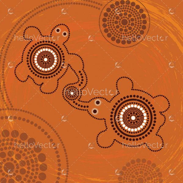 Connection concept, Aboriginal art vector painting with turtles