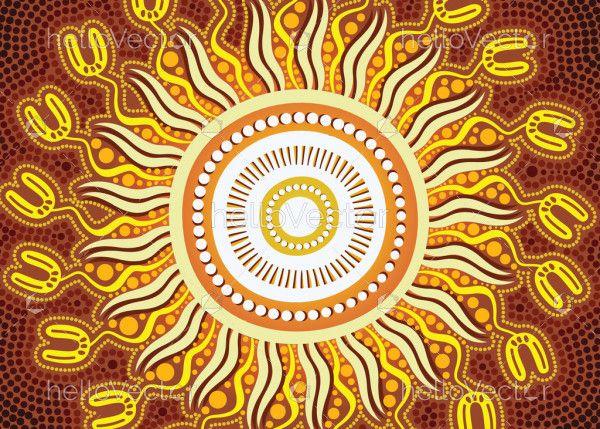 Aboriginal yellow circle design background