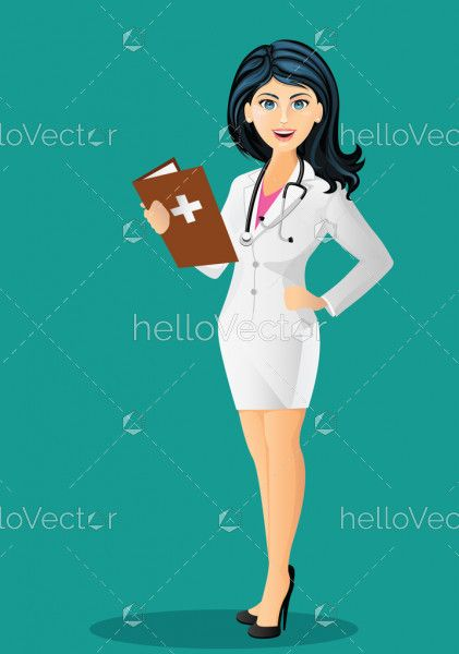Beautiful female doctor with stethoscope in white lab coat, holding a medical record - Vector illustration
