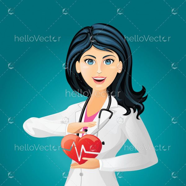Doctor cardiologist with red heart. Female doctor with stethoscope holding heart - medical concept vector background.
