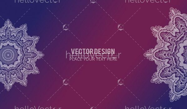 Abstract floral effect banner with text. Mandala design texture background - Vector