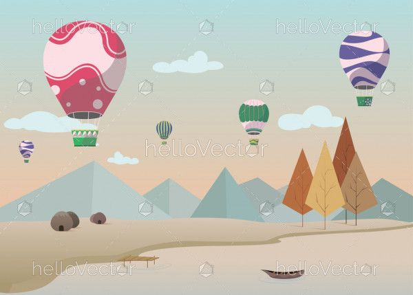Background design with the nature and parachute, Desktop wallpaper vector.