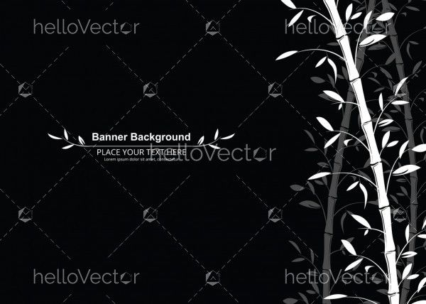 Bamboo pattern banner background. Black and white decorative bamboo branches wallpaper