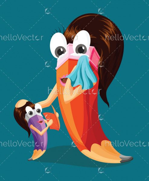 Mother blessing her daughter. Mother daughter love. Funny pencil character.