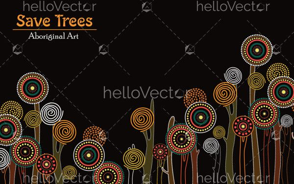 Aboriginal tree, Aboriginal art vector painting with tree, Save tree landscape banner background.