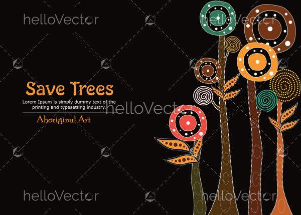 Aboriginal tree, Aboriginal art vector painting with tree, Save tree banner background.