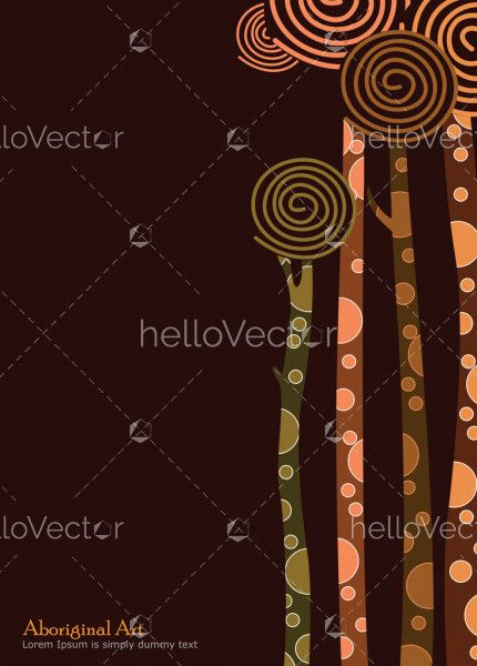 Tree banner background, Aboriginal art vector painting with tree.