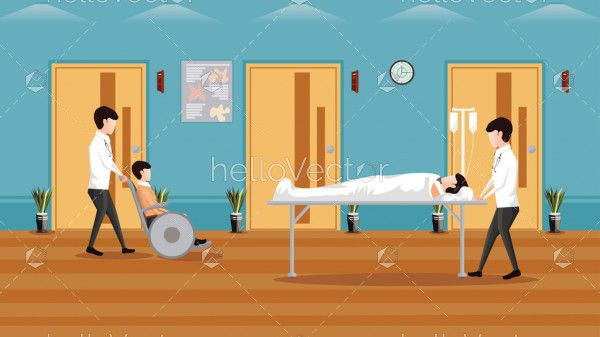 Medical concept horizontal background, Medical services with doctors and patients in hospital