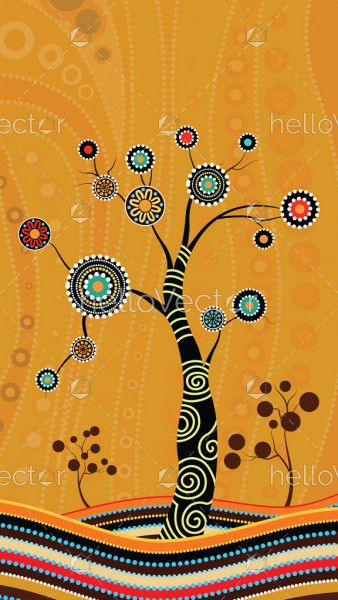 Tree on the hill, Aboriginal tree, Aboriginal art vector painting with tree.