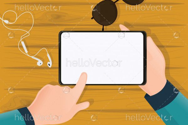 Hand holding tablet, Tablet blank screen on table top view