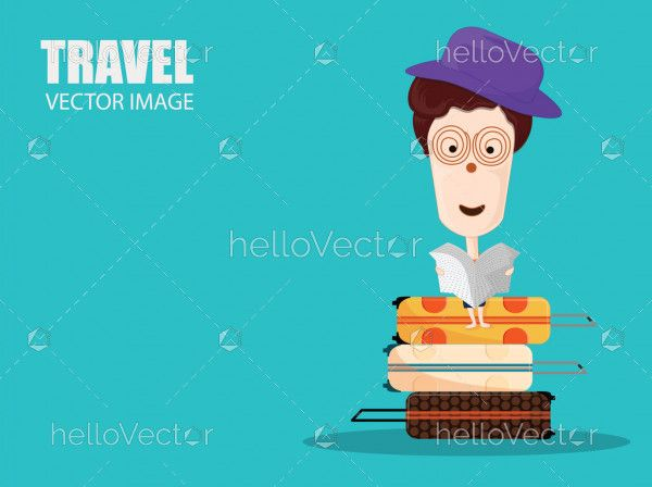 Travel and Tourism Banner, Cute Cartoon Character with Luggage.