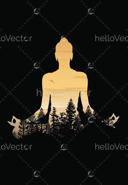 Buddha background vector, Buddha and nature, meditation background