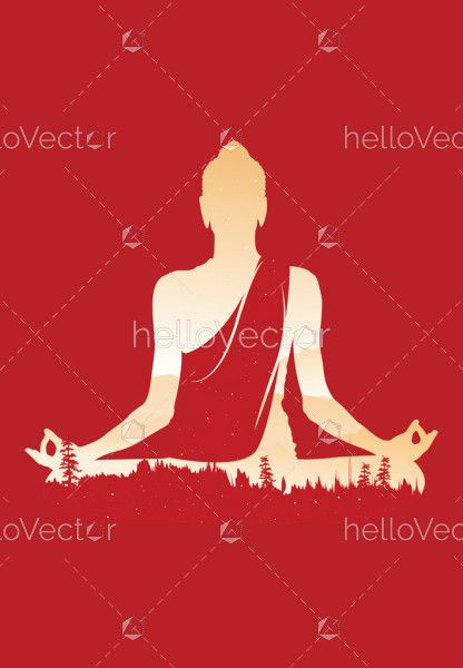 Buddha vector, Abstract Buddha on red background, Buddha and nature, meditation background