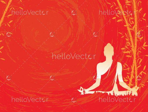 Buddha vector, Abstract Buddha with bamboo on red background, Buddha and nature, meditation