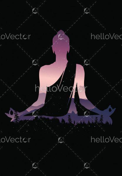 Buddha vector, Abstract Buddha on black background, Buddha and nature, meditation background
