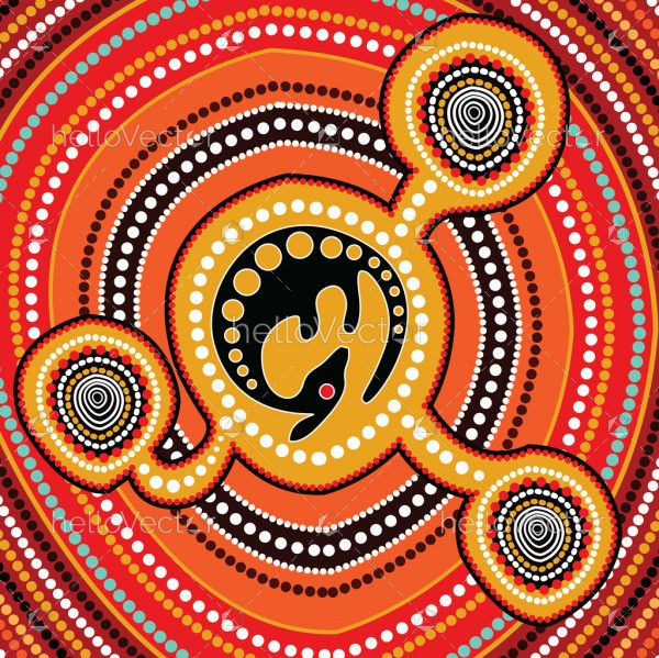 Aboriginal art vector painting with kangaroo, Connection concept.