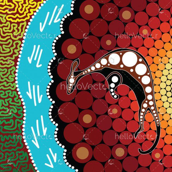 Aboriginal art background with kangaroo