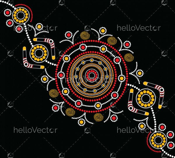 Illustration based on aboriginal style of dot painting.