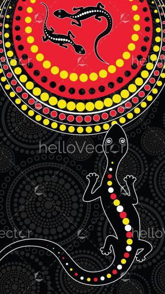 Lizard vector, Aboriginal art background with lizard.