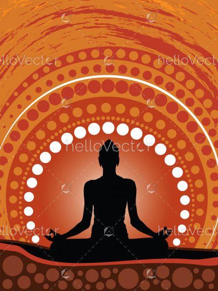Meditation background vector, Illustration based on aboriginal style of dot background