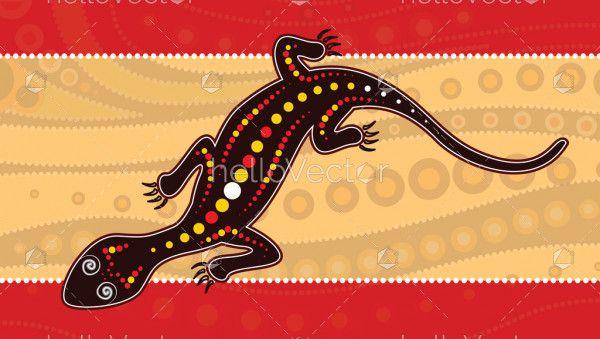 Lizard vector, Aboriginal art background with lizard,