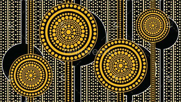 Aboriginal art landscape background - Vector illustration